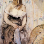 Manet - donna che indossa le calze